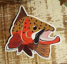 """CUTTHROAT TROUT Sticker Decal fly fishing Kype 4"""" x 4 1/2"""" glossy weather proof"""