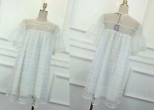 MW007780 - CUTE WHITE LACE ORGANZA DOLLY GIRL A-LINE DRESS (SIZE M)