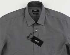 Men's HUGO BOSS Gray Black Houndstooth Shirt L Large NWT NEW $155+ LUCAS