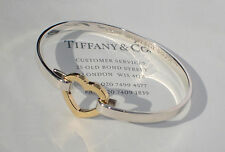 Tiffany & Co 18Ct 18K Gold Sterling Silver Heart Link Bangle Bracelet