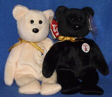 TY EBONY and IVORY the BEAR BEANIE BABY SET - UK EXCLUSIVE - MINT with MINT TAGS