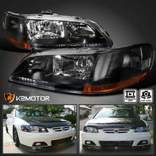 For 98-02 Honda Accord JDM Black Front Diamond Headlights Left+Right