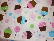 CLEARANCE FQ FAIRY CUPCAKES CANDY POLKA DOTS FABRIC FOOD PINK
