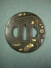 Japanese TSUBA of Katana / Samurai Sword / Gold Inlay / Chrysanthemum Umbrella