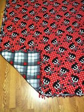 BLANKETS BY DARLENE TIED FLEECE SKULL PIRATE WITH RED,GREY,BLACK PLAID BACK