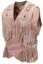Fahion Runway Men Western Vest Sheep Leather  with Fringe and Bead Size: ALL