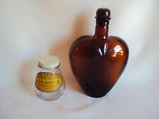 COLLECTIBLE AMBER & CLEAR GLASS PAUL MASSON & MOTH CONTROL BOTTLES SET