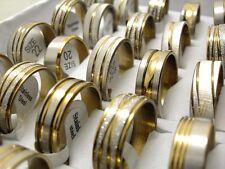 15pcs Gold Mix Men's Fashion Stainless Steel Rings Wholesale Jewlery Job lot