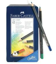 Faber-Castell Artgrip Colour Pencils 12 NEW Top Quality Colouring in metal case