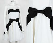 BETSEY JOHNSON EVENING WHITE BLACK STRAPLESS PARTY DRESS SZ 8