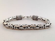 "7.5"" 38g ROUND 6MM BALI BYZANTINE KING CHAIN 925 STERLING SILVER MENS BRACELET"