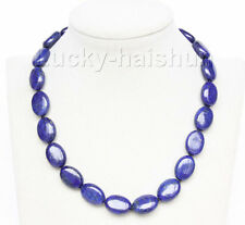 "natural 17"" 13X18mm ellipse lapis lazuli necklace 18KGP clasp j9736"