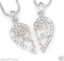 BEST FRIEND Heart Silver Tone Crystal Pendants Necklaces Friendship 4ever BFF