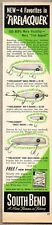 1950 Print Ad South Bend Firelacquer Fishing Lures Bass Trout Oreno Nip-I-Diddee