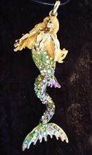 Kirks Folly Large Mermaid pendant on leather cord necklace.  Very rare 4in tall