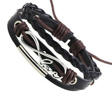 Womens black braided leather handmade wristband bracelet infinity love beaded