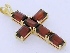 P055- Gorgeous 9ct Genuine Solid Yellow Gold Natural Garnet Cross Pendant