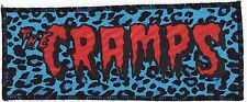 BLOOD RED & BLACK CRAMPS PSYCHOBILLY PUNK GOTH BLUE LEOPARD OVERLOCKED PATCH