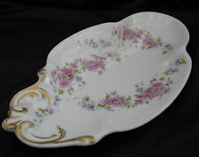 Antique 1900 Delinieres Bernardaud Limoges France Pink Aster 9 Inch Relish Dish
