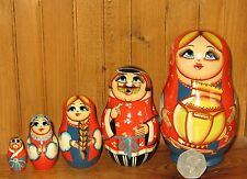 Russian SMALL nesting doll family 5 Traditional design Matryoshka SAMOVAR signed