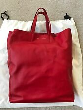 Celine Red Leather Cabas Long Vertical Tote Shopper Shopping Bag $1300