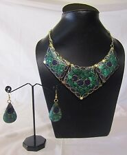 MALACHITE LAPIS NECKLACE GOLD WOMEN NECKLACE WITH EARRINGS HANDMADE ETHNIC JEWEL