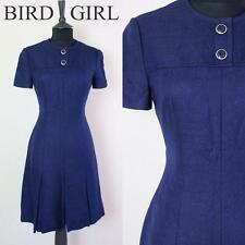 BUTTON TRIM 1960S VINTAGE NAVY BLUE RETRO MOD SCOOTER TWIGGY MINI DRESS 6-8 XS