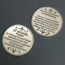 Saint St Michael Archangel Pocket Token Protector Protection Prayer Coin Medal