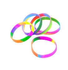 4 X nuevo arco iris de silicona Pulseras Brazalete De Muñeca De Mujer Elástico Multicolor