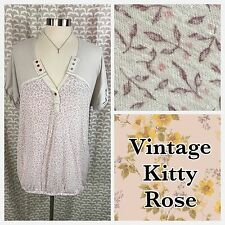 We The Free People Leaf Berry Print Cuffed Sleeve T Shirt Blouse Top Medium