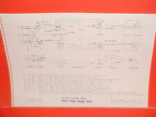 1965 1966 DODGE DART 170 270 GT CONVERTIBLE STATION WAGON FRAME DIMENSION CHART