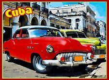 Cuba Cuban Havana Island Habana Red Car Caribbean Travel Advertisement Poster