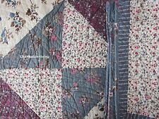 LAURA ASHLEY Patchwork F/QUEEN QUILT Blue Purple Tan Cream Ivory FLORAL COTTON