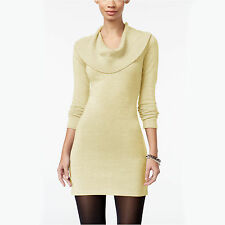 New ENERGIE Juniors Metallic Shimmer Cowl Neck Sweater Dress Tunic Medium Gold