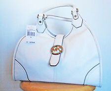 NWT: MICHAEL KORS Hudson OPTIC WHITE/Leather  LG SHLDR Tote