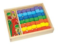 Wooden Box Of Large Jumbo Beads Creative Threading Wooden Shapes Kids Toy Beads