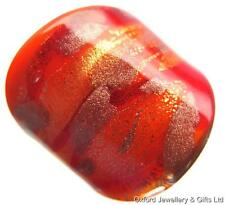 ALL IN ONE HANDMADE GENUINE MURANO GLASS RING. FLAME, RED, GOLD & BRONZE SIZE O
