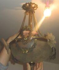 ANCIENNE SUSPENSION LAMPE PLAFONNIER LUSTRE GUIRLANDE DE FLEURS BRONZE