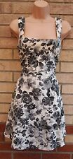 PRIMARK GREY CREAM BLACK ROSES FLORAL QUILTED SKATER FLIPPY A LINE DRESS 14 L