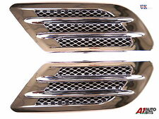 2x Chrome Wing Air Side Vent Trim Intake Fender Cover Duct Flow Grille Sticker