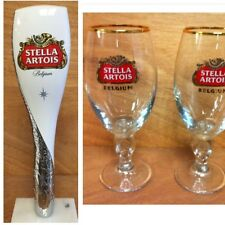 """Stella Artois Beer Tap Handle 12"""" - Two (2) 33 cl Glasses - Combo Set NEW F/Sh."""