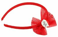 Zest Alice Band with Mesh Bow and Santa Cat Hair Accessory Red