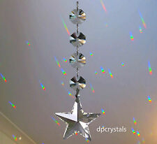 Hanging Crystal Suncatcher Feng Shui Rainbow Prism STAR with Swarovski Octagons