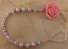 romany Swavorski and rhinestones Bling Personalised rose  Dummy Clip Shamballa