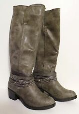 NEW So Womens 6.5 Locker Grey Zip Knee High Motorcycle Boots Strapy Ankle Accent