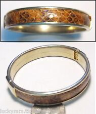Vintage Hinged Clamper Bangle Bracelet, Shades of Brown Snakeskin/Gold Plate