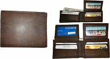 Lot of 3 New Men's Bi fold Leather Wallet 12 Credit Cards 2 IDs 2 Billfolds BNWT