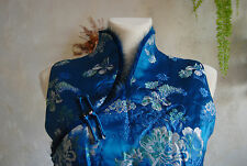 stunning chinese native blue rose floral embroidery fur satin dress