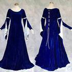 Blue Velvet Medieval Renaissance Gown Dress Cosplay Costume LARP Wedding XL 1X