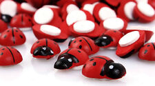 """Lot of 10 Small RED LADYBUG Stick-on Wooden Button 3/8"""" Scrapbook Craft (1012)"""